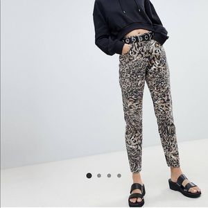 ASOS mom jeans in abstract leopard print